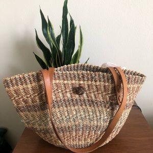 Vintage Raffia Basket Tote Bag